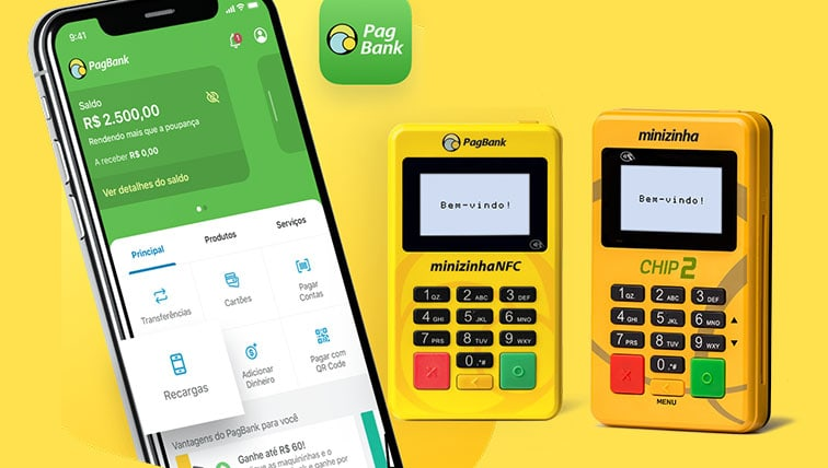 Minizinha NFC e Chip ao lado de celular com app PagBank