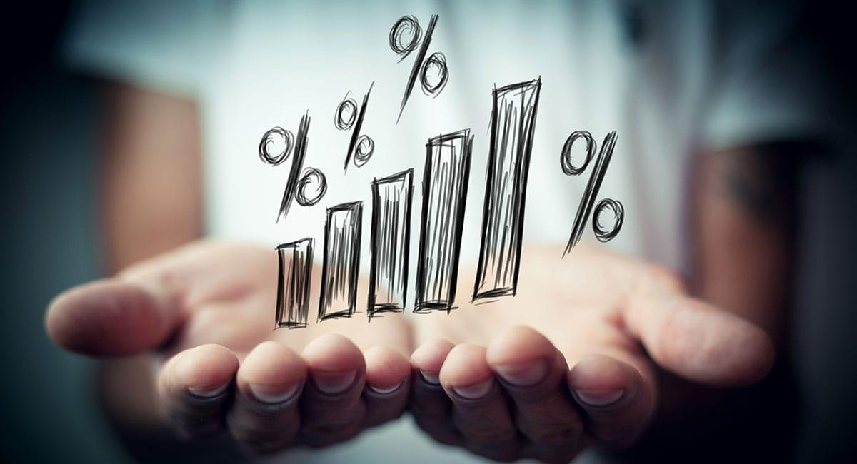 Gráfico de barras com porcentagens na palma de mãos juntas