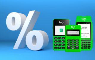Maquininhas Ton com porcentagem indicando taxas